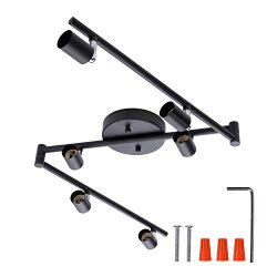 6-Light Adjustable LED Dimmable Track Lighting Kit by AIBOO,Flexible Foldable Arms, Matt Black C ...