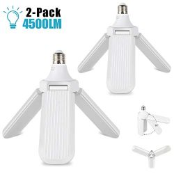 LED Garage Lights, 2 Pack Deformable Triple Glow 4500LM Garage Light 45W Fan Blade Light Bulb Ad ...