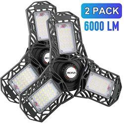 LED Garage Lights, 2 Pack LED Garage Ceiling Lights 6000LM Garage Lighting, Deformable LED Garag ...