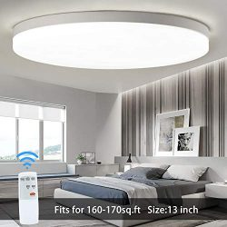 DLLT 35W Modern Dimmable Led Flush Mount Ceiling Light Fixture with Remote- 13 Inch Brightness A ...