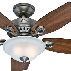 Hunter Fan 44 inch Traditional Antique Pewter Indoor Ceiling Fan with Bowl Light Kit w/Linen Gla ...