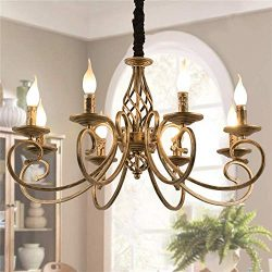 Ganeed Rustic Chandeliers,8 Lights Candle French Country Chandelier,Vintage Iron Pendant Light F ...