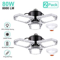 LED Garage Lights 80W Deformable 2 Pack 8000LM Three Leaf Triple Glow Close to Ceiling Light Fix ...
