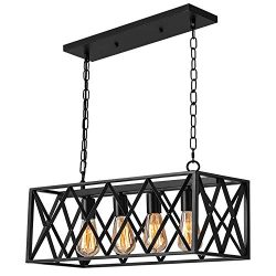 Industrial Kitchen Island Pendant Lighting, Pynsseu Rectangular Vintage Rustic 4-Light Hanging P ...