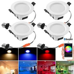 Smart LED Downlights, 4pcs 5W Smart LED Recessed Lighting RGBWC Bluetooth Smart Phone Control Ca ...