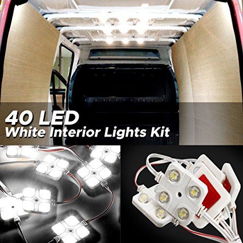 AUDEW 40 Led White Interior Lights Kit,12V LED Ceiling Lights Kit For LWB Van Trailer Lorries Sp ...
