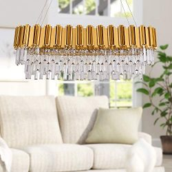 MEELIGHTING W35″ Linear Modern Crystal Chandelier Lights Luxury Pendant Ceiling Light Oval ...