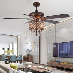 Rustic Ceiling Fan with Crystal Light Home Indoor Quiet Fan Light Reversible Wood Blades Ceiling ...