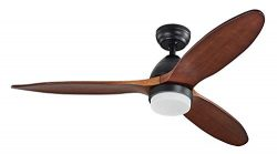 Lampsmore Indoor Ceiling Fan 42 inch 3 Solid Wood Blades With Remote Control 12W LED Ceiling Fan