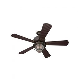 Merrimack 52-in Antique Bronze Downrod Mount Indoor/Outdoor Ceiling Fan with Light Kit and Remot ...