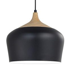 Karmiqi Modern Pendant Light with LED Bulb, Wood Pattern Metal Shade Ceiling Hanging Light Fixtu ...