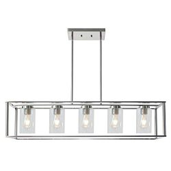 VINLUZ Contemporary Chandeliers Brushed Nickel 5 Light Modern Vintage Dining Room Lighting Fixtu ...