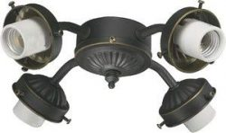 Four Light Branched Ceiling Fan Light Kit Bulb Type: Fluorescent, Finish: Old World