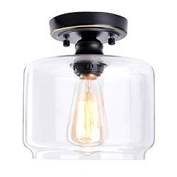 HMVPL Glass Ceiling Lamp, Industrial Close to Ceiling Light Semi Flush Mount Pendant Lighting Fi ...