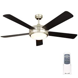 Hykolity 52 Inch Indoor Brushed Nickel Ceiling Fan with Dimmable Light Kit and Remote Control, M ...