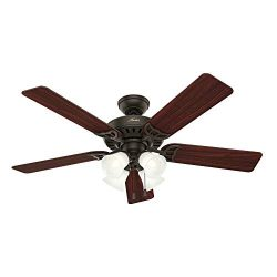 Hunter Indoor Ceiling Fan, with pull chain control – Studio Series 52 inch, New Bronze, 53067