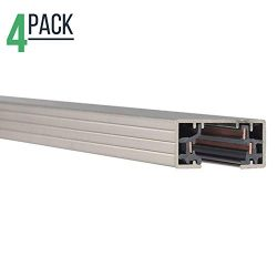 Track Lighting Section, 4ft H Track Rail, White Single Circuit 3-Wire Track Rail (Pack of 4) (Sa ...