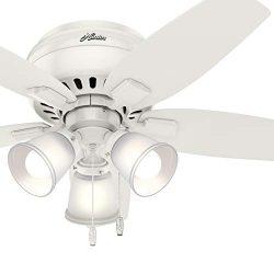 Hunter Fan 42 inch Fresh White Low Profile Indoor Ceiling Fan with Light Kit (Renewed)