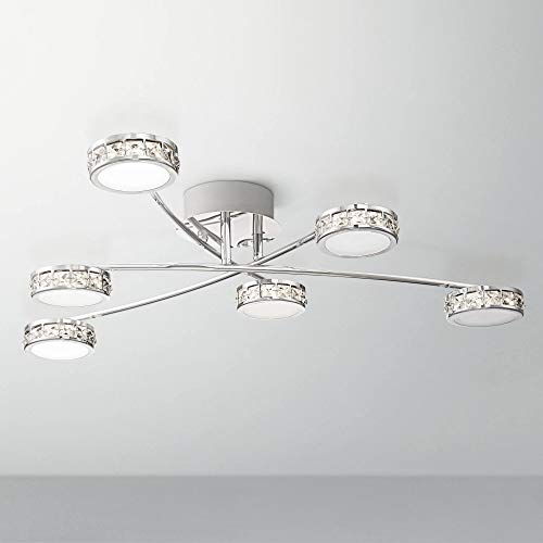 Tambourine Modern Ceiling Light Flush Mount Fixture LED Chrome 33″ Wide 6-Light Crystal Wh ...