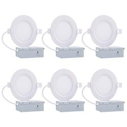 4″ Slim Retrofit LED Recessed Lighting, 9W Dimmable LED Ceiling Light with Junction Box, 5 ...