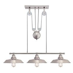Westinghouse Lighting 6369900 Iron Hill Three-Light Indoor Island Pulley Pendant Light, Brushed  ...