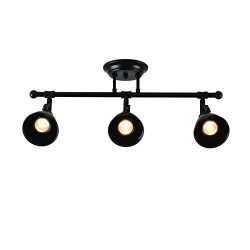 mirrea 22in Industrial Complete Track Kit 3 Lamp Shade Heads with GU10 Base Direction Adjustable ...