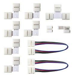 MYPLUS 5050 4Pin LED Strip Lights Connector Kit, Strip to Strip Solderless Connector, 2X LED Str ...