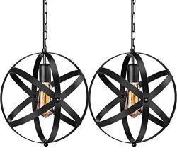Industrial Pendant Light, 2 Pack Vintage Spherical Pendant Light Fixture with 39.3 Inches Adjust ...