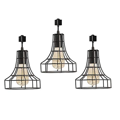 Industrial H-Type Track Pendant Lighting Commercial Track Lighting- Rustic Adjustable Industrial ...