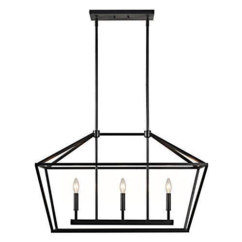MOTINI 3-Light Kitchen Island Lantern Pendant Linear Chandelier Black Rod Hanging Light 32″ ...