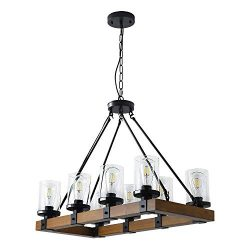 8-Light Farmhouse Wood Kitchen Island, Wood Chandeliers, Candle Pendant Light, Clear Glass Lodge ...