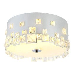 AI-LIGHTING Chandelier Flush Mount Ceiling Light Crystal Metal Shade Farmhouse Bedroom Living Ro ...