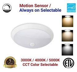 Motion Sensor LED Ceiling Light 18W 1400LM Flush Mount Round Lighting Fixture Indoor/Outdoor, St ...