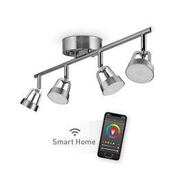 Globe Electric Globe Smart Collection 59429 Wi-Fi Track Light, Brushed Nickel, No Hub Required,  ...