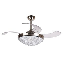 Ceiling Fans with LED Lights 46 Inch Ceiling Fan with Remote Crystal Chandelier Fans with Retrac ...