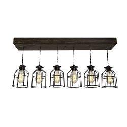 West Ninth Vintage Fayette Wood Pendant Chandelier Light – Farmhouse Rustic Lighting for K ...