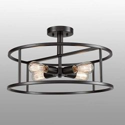 EUL Industrial Semi Flush Mount Ceiling Light 4-Light Metal Drum Chandelier Lighting Fixture