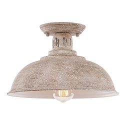 HMVPL Farmhouse Close to Ceiling Light, Vintage Semi Flush Mounted Lighting Fixture Industrial C ...
