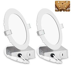 6 Inch LED Recessed Lighting with Junction Box, Smooth Trim, 2 Pack, 12W= 100W, 3000K Warm White ...