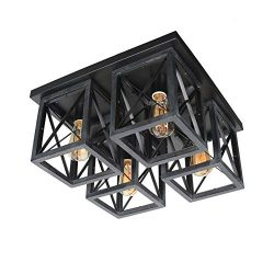 Baiwaiz Square Farmhouse Flush Mount Ceiling Light, Wood Rustic Close to Ceiling Lighting Black  ...