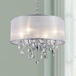Bestier Modern Elegent Crystal Pendant Drum Chandelier 4 Light Chrome Lighting Fixture LED Ceili ...