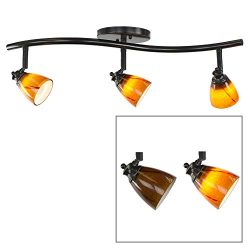 Direct-Lighting 3 Lights Adjustable Track Lighting Kit – Dark Bronze Finish – Amber  ...