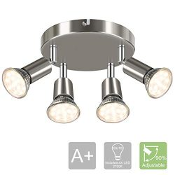 LANGREE Round 4-Light Track Lighting Fixtures, 4 Way Ceiling Spotlight, ø180mm (Including 4x4w G ...