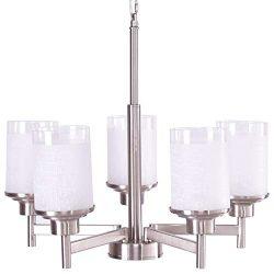 Tangkula Chandelier Home Hall Living Room Modern Pendent Light Ceiling Lamp (Brushed Nickel, 5 L ...