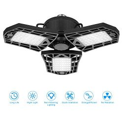 Deformable LED Garage Lights, 80W LED Garage Ceiling Lights with 3 Adjustable Panels, 8000LM, E2 ...