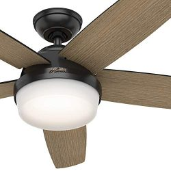 Hunter Fan 52 inch Contemporary Matte Black Indoor Ceiling Fan with Light Kit and Remote Control ...