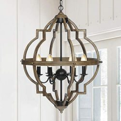 "KingSo Pendant Light 6 Light Rustic Metal Chandelier 27.5"" Oil Rubbed Bronze Finish Wood T ..."