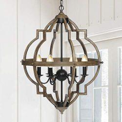 "KingSo Pendant Light 6 Light Rustic Metal Chandelier 27.5"" Oil Rubbed Bronze Finish Wood T ..."