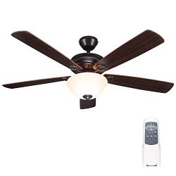 Hykolity 52 Inch Indoor Oil-Rubbed Bronze Ceiling Fan With Light Kits and Remote Control, Classi ...