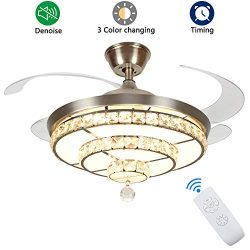 DLLT Crystal Ceiling Fan with Light, 36W Modern Ceiling Fan Remote, 4-Blade Retractable Led Fan  ...